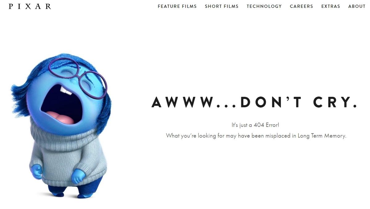 PIXAR Page Erreur 404 votre site web et Google URL PAGE ERROR 404