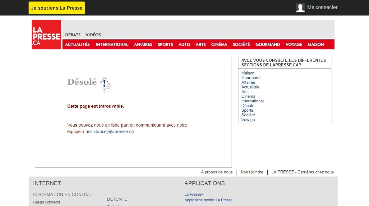 lapresse Page Erreur 404 Votre Site Web Et Google URL PAGE ERROR 404